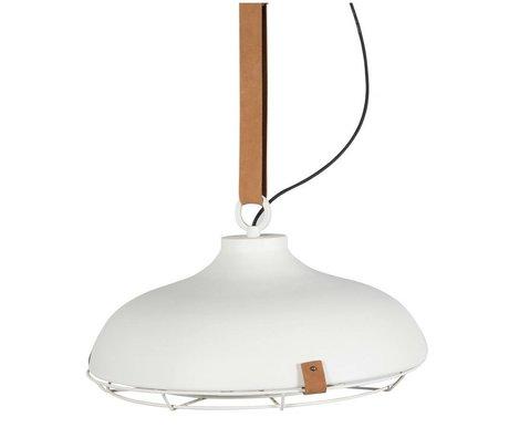 Zuiver Hängelampe Dek 51, weiß-braun, Metall, Leder, Ø 51 x 22 cm