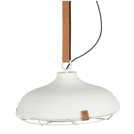 Zuiver Deck 51 white metal pendant light brown leather Ø51x22cm