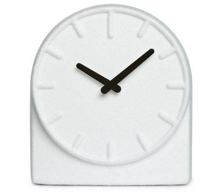 LEFF amsterdam Orologio Feltro Due bianco con le mani nero 19,5x8x21cm