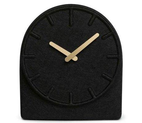 LEFF amsterdam Sentit deux horloge noir avec les mains en laiton 19,5x8x21cm