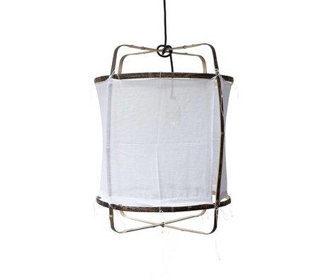 Ay Illuminate Pendentif en bambou avec du coton blanc couvercle ø42x57cm