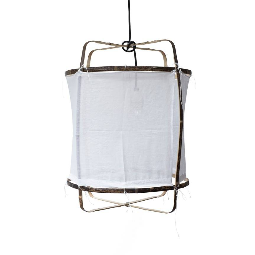 Ay Illuminate Bamboo Pendant With White Cotton Cover
