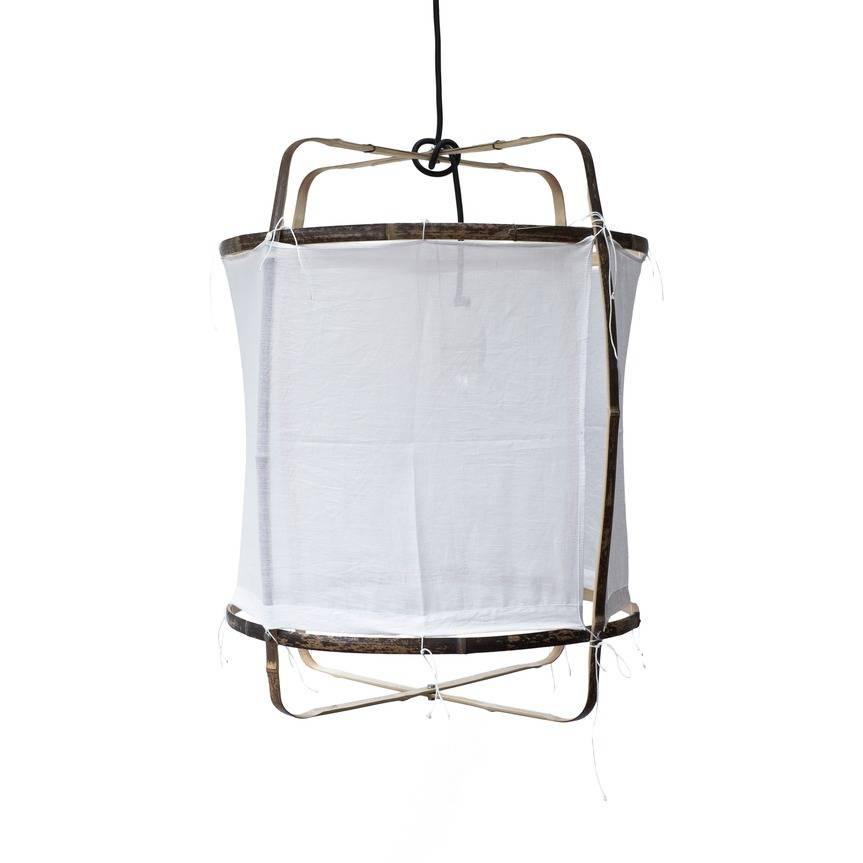 Ay Illuminate Hangelampe Mit Bambus Baumwolle Cover Weiss O42x57cm