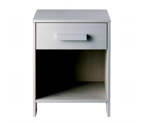 LEF collections Nightstand Dennis concrete gray brushed pine 40x34x52cm
