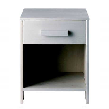 LEF collections Chevet Dennis béton gris brossé 40x34x52cm de pin