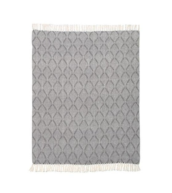 HK-living Couverture Vivante diamant plaid 125x50cm noir et blanc ...