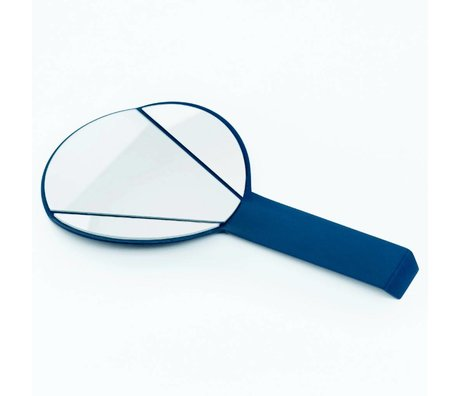 Ontwerpduo Espejo de mano Espejo de Split vidrio azul 28x15x1cm metales