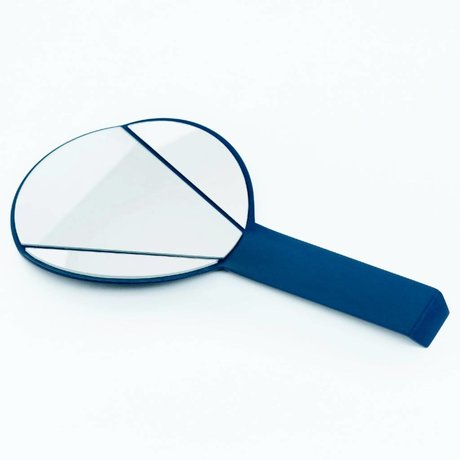 Ontwerpduo Miroir à main Miroir de Split verre bleu 28x15x1cm métallique