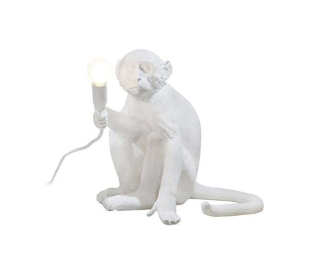 Seletti Bordlampe MONKEY lampe siddende Lampresin hvid 34x30xh32cm