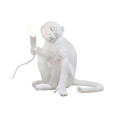 Seletti Lampresin beyaz 34x30xh32cm oturan masa lambası MAYMUN lambası