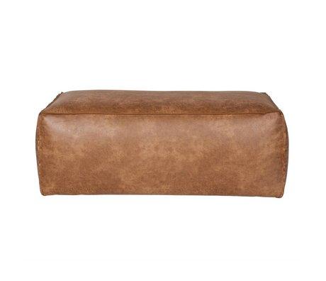 BePureHome Pouf Rodeo aus Leder, cognacbraun, 43x120x60cm