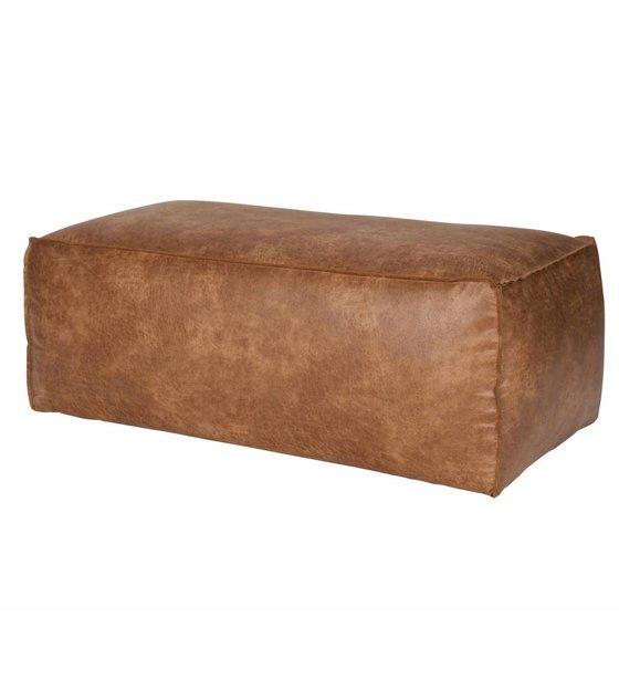 Puf Rodeo coñac 43x120x60cm cuero marrón - lefliving.com