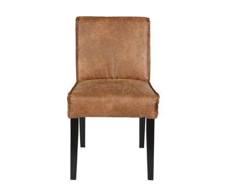 BePureHome Eetkamerstoel Rodeo de cuero marrón coñac 83x45x61cm madera negro