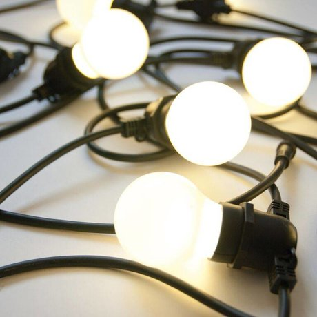 Seletti Chaîne légère avec 10 ampoules L14,2m en caoutchouc noir