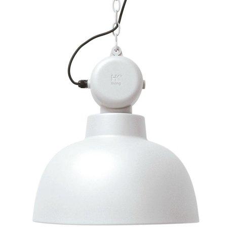 HK-living Lampada a sospensione di fabbrica bianco opaco metallo grande Ø50cm