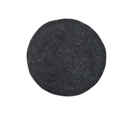 HK-living Yastık Sandalye Minderi Kömür Ø35cm Keçe