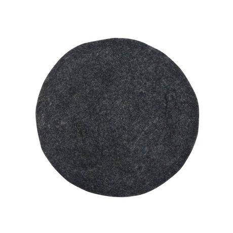 HK-living Pude Filt stolehynde Charcoal Ø35cm