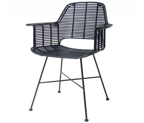 HK-living Stol Rotan sort med metalramme 67x55x83cm