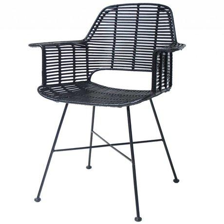 HK-living Rotan negro Silla con estructura de metal 67x55x83cm
