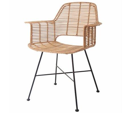 HK-living color natural silla Rotan con 67x55x83cm marco de metal negro