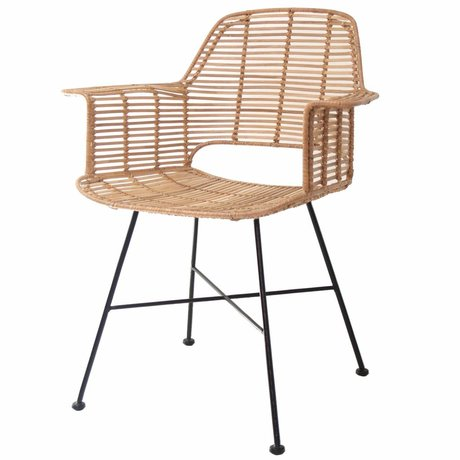 HK-living Stol Rotan naturlig farve med sort metalstel 67x55x83cm