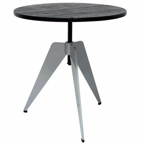 HK-living Table d'appoint industrielle avec structure en métal gris et bambou noir feuille 60x60x50-67cm