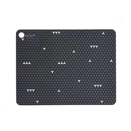 OYOY Manteles individuales Gris Línea Gris silicona Juego de dos 45x34x0,15cm
