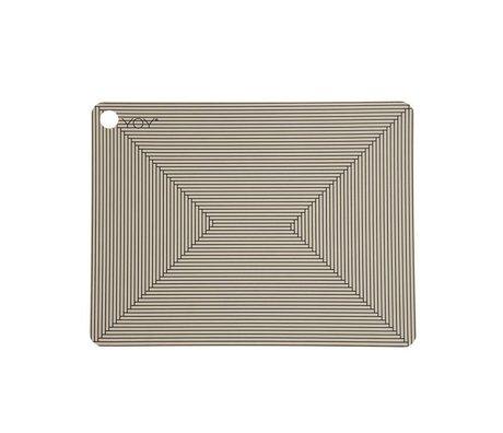 OYOY Manteles individuales de arcilla de silicona negro marrón Juego de dos 45x34x0,15cm