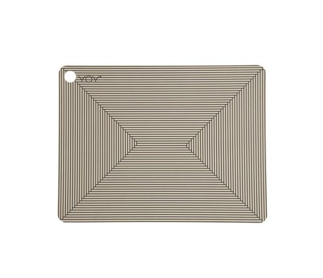 OYOY Place mats Clay brown black silicone Set of two 45x34x0,15cm