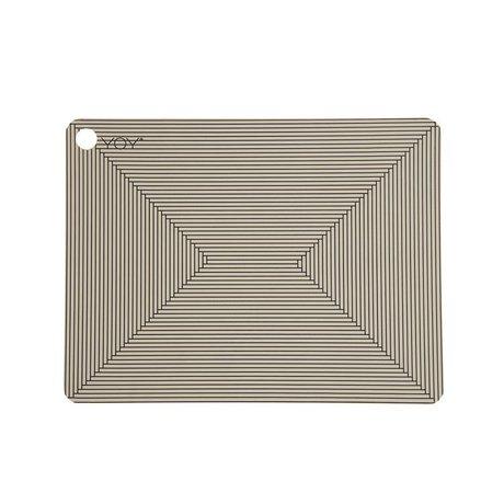 OYOY Napperons argile brune silicone noir ensemble de deux 45x34x0,15cm