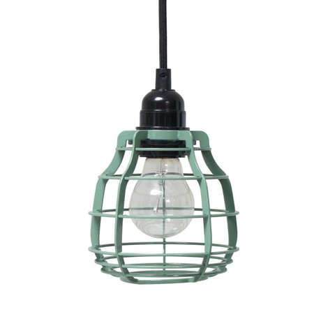 HK-living Hanging lamp Lab Army green with green metal switch ø13x13x17cm