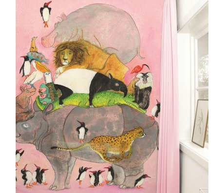 Kek Amsterdam Tapete Jumping Pinguins Mehrfarbig Papiervlies 243,5x280cm