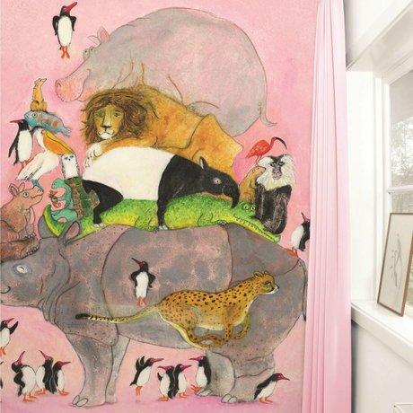 Kek Amsterdam Saltando papel pintado pingüino multicolor 243,5x280cm papel de vellón
