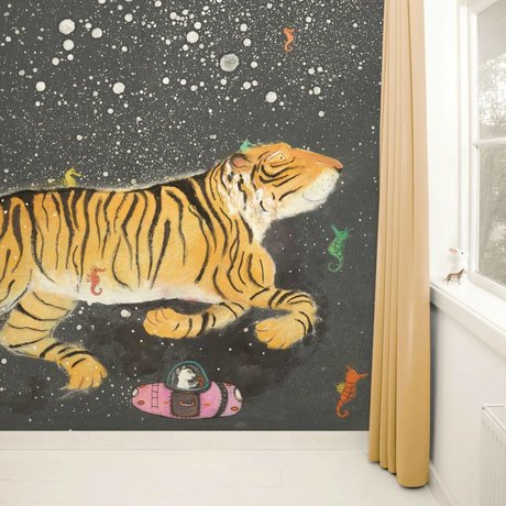 Kek Amsterdam Wallpaper Smiling Tiger Multi Paperliners 389,6x280cm