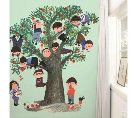 Kek Amsterdam Tapete Apple tree green Mehrfarbig Papiervlies 243,5x280cm