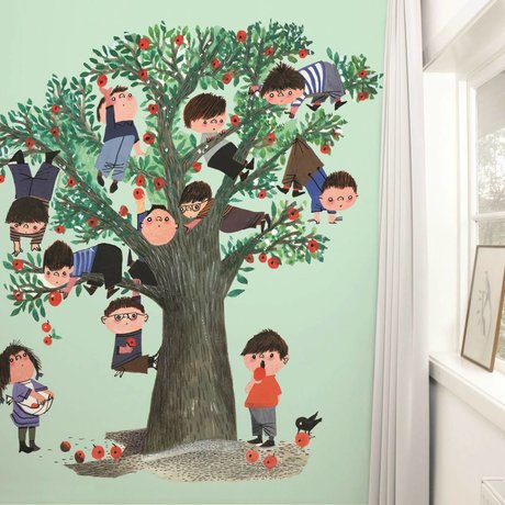 Kek Amsterdam Wallpaper Apple tree Green Multi-colored paper fleece 243,5x280cm