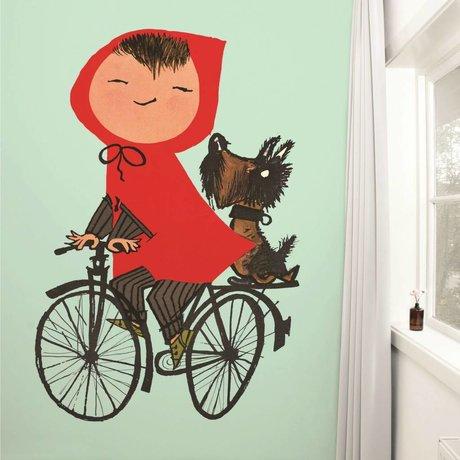 Kek Amsterdam El montar mi bicicleta papel tapiz verde multicolor 243,5x280cm papel de vellón