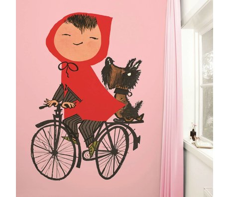 Kek Amsterdam Carta da parati in sella alla mia moto rosa Multi-color carta pile 243,5x280cm