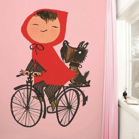 Kek Amsterdam Benim bisiklet duvar kağıdı pembe Çok renkli kağıt polar 243,5x280cm Binme