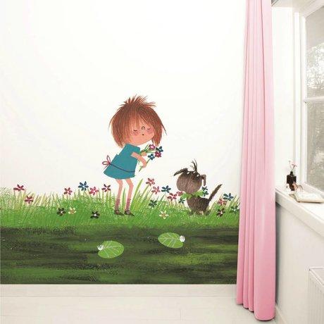Kek Amsterdam Wallpaper Picking Flowers Multi-farvet papir fleece 292,2x280cm