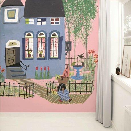 Kek Amsterdam mavi ev pembe Çok renkli kağıt polar 243,5x280cm ile duvar kağıdı Bear