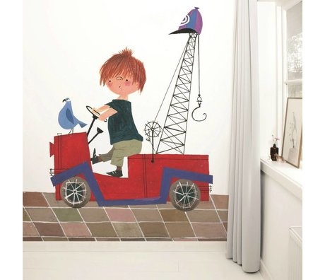 Kek Amsterdam Wallpaper Red Truck Multi-colored paper fleece 243,5x280cm