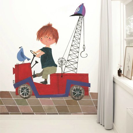 Kek Amsterdam Wallpaper Red Truck Multi-farvet papir fleece 243,5x280cm