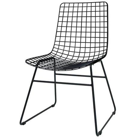 HK-living Salle à manger chaise salle fil 47x54x86cm en métal noir