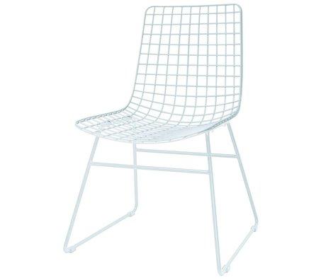 HK-living sedia da pranzo filo metallico bianco 47x54x86cm