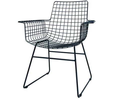HK-living Wire chair with armrests black metal 72x56x86cm