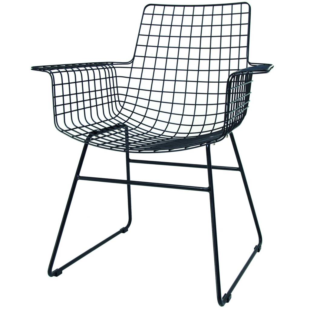 Perfect HK-living Wire chair with armrests black metal 72x56x86cm  WJ44