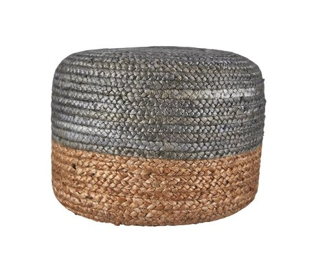 Housedoctor Pouf Hemp Jute silver natural colored brown 45xh35cm
