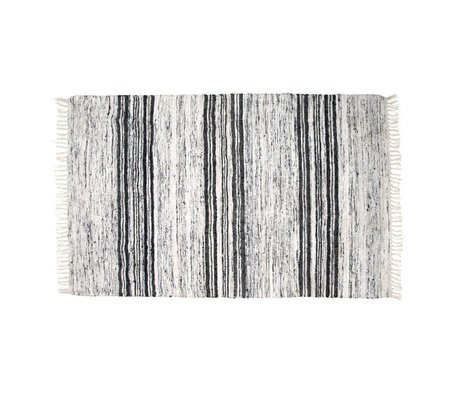 HK-living Carpet recycled silk black 120x180cm white