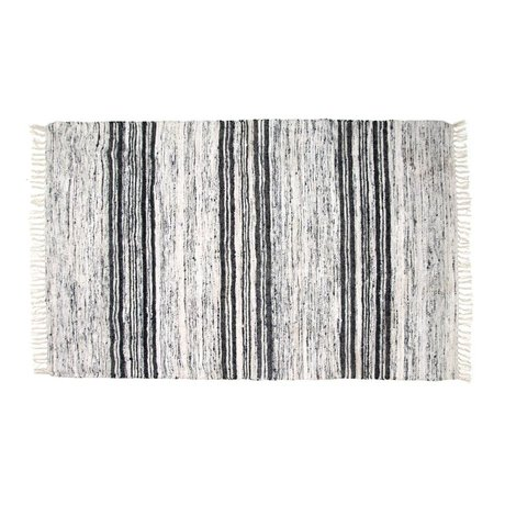 HK-living Alfombra blanca 120X180cm negro de seda reciclada